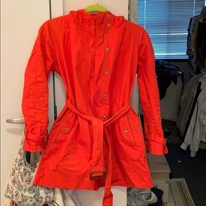 Jcrew orange red rain jacket petite